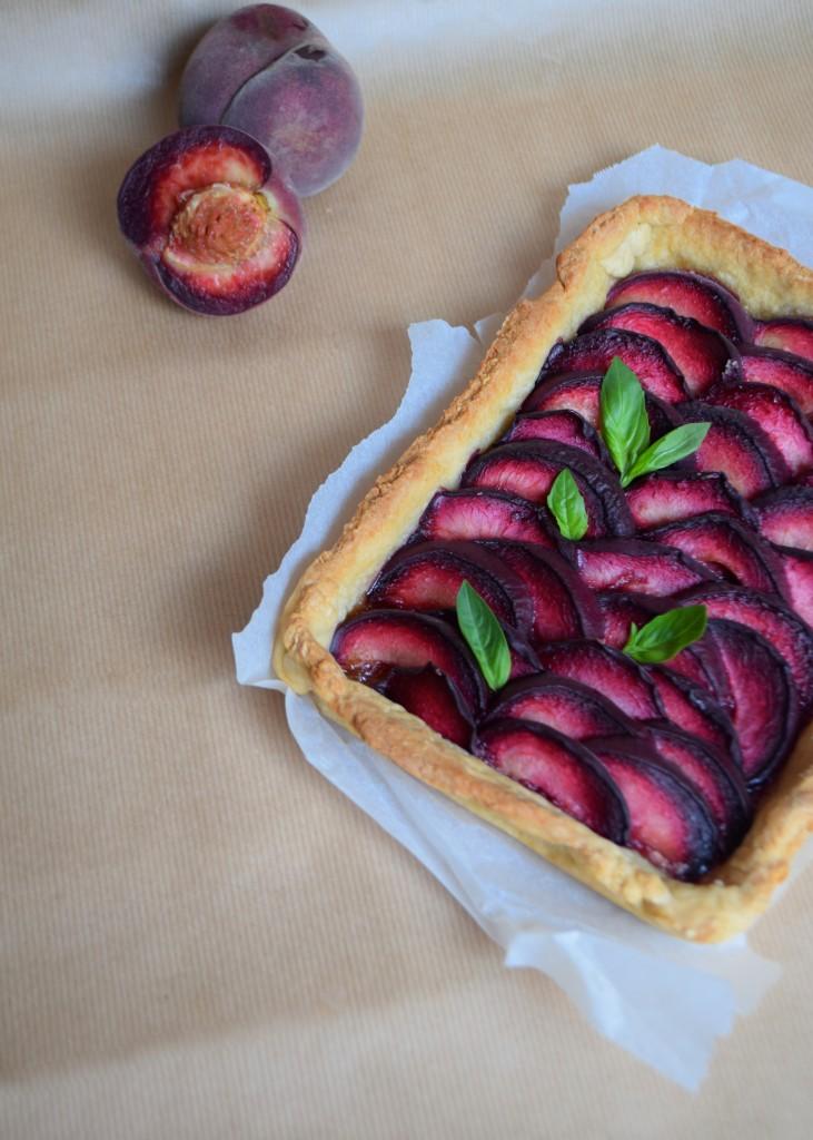 Vineyard peach and basil tart