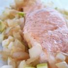 Papillote saumon sucré salé oignon pomme granny