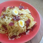 Spring carbonara Jamie Oliver oeuf caille jambon