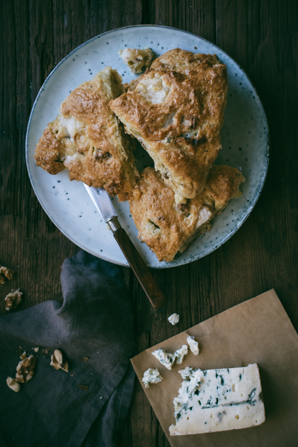 Spelt Scones with Blue Cheese, Pear & Walnuts