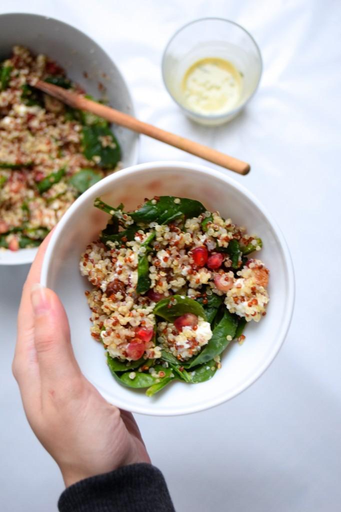 quinoa salad with pomegranate grape spinach feta