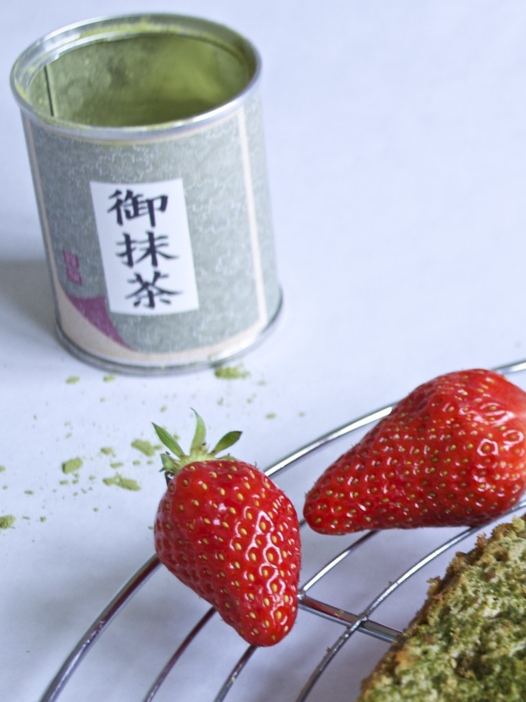 cheesecake thé matcha fraise gariguette zoom