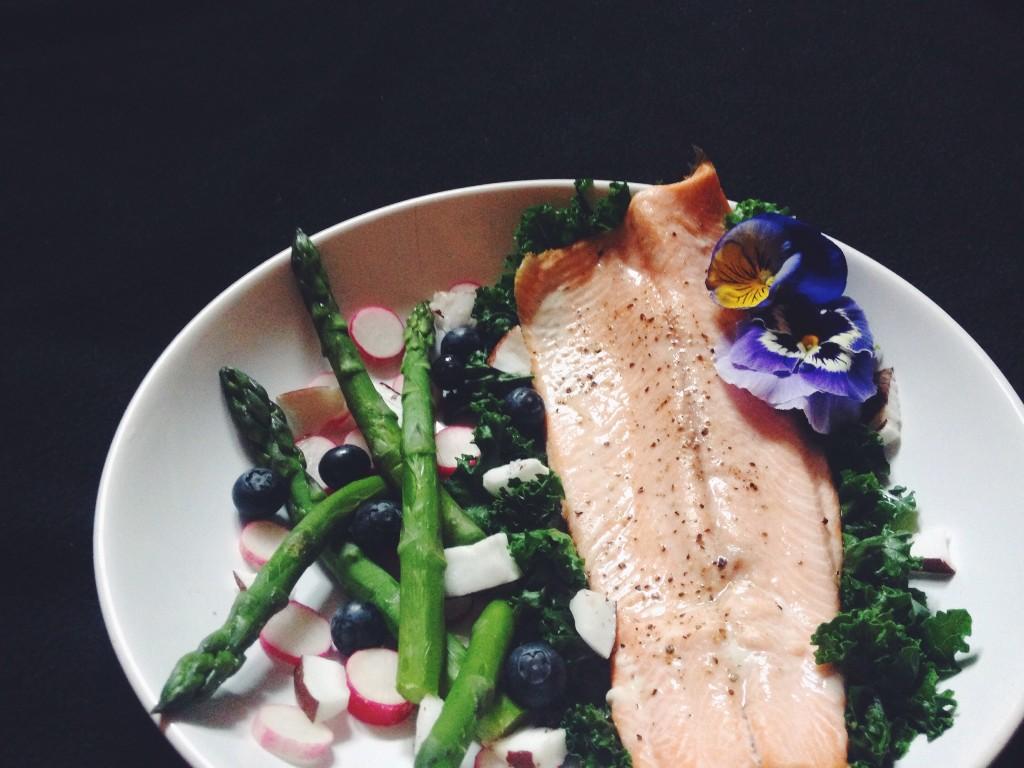 trout kale blueberry asparagus flower radish coconut