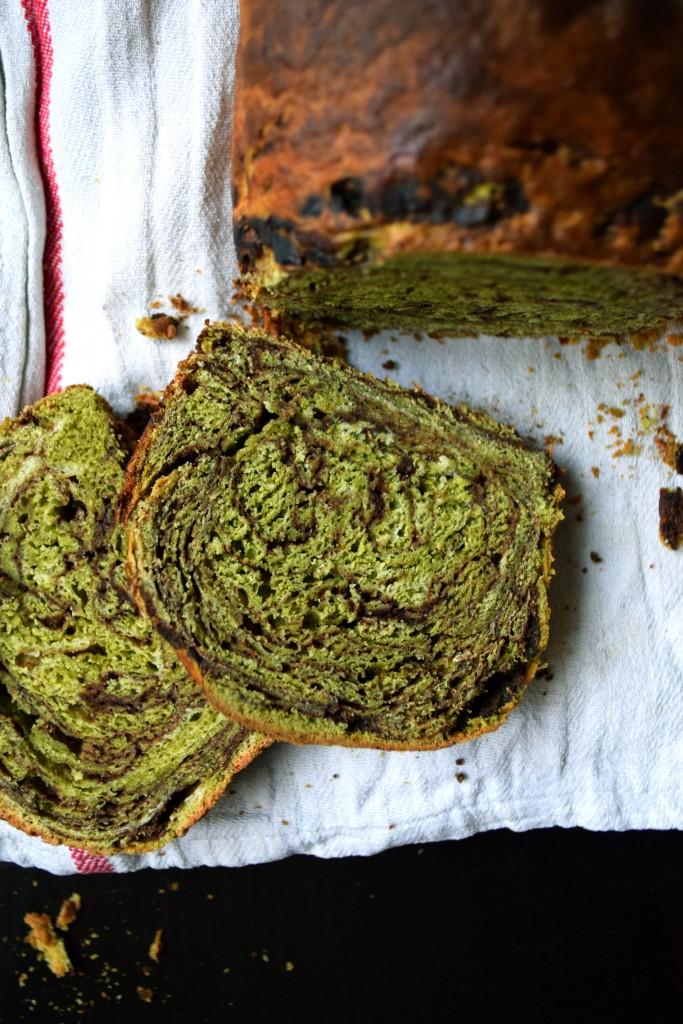 Matcha azuki puffed brioche