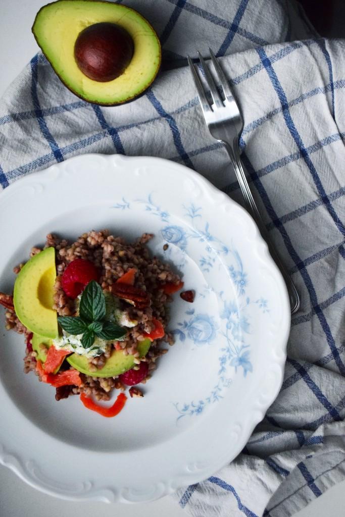 buckwheat salad raspberry mint salmon avocado