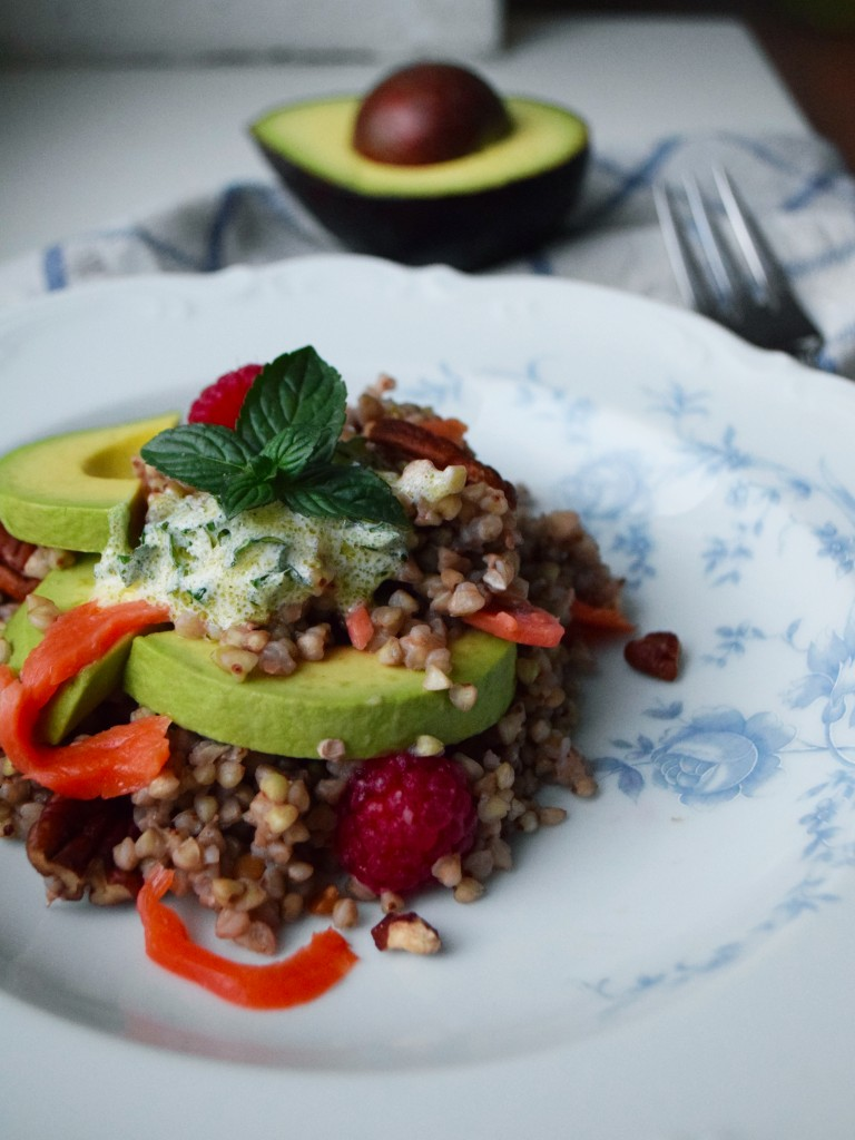 quinoa salad salmon avocado mint raspberry