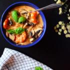 soupe thaï crevette coco curry basilic champignon riz gingembre