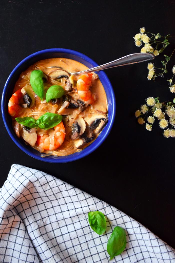 Thai soup with prawns