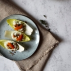chicory salad with gorgonzola cream dried apricots walnuts thyme top