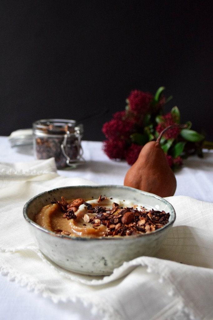 pear compote cardamom recipe low in sugar nutty amaranth chocolate granola