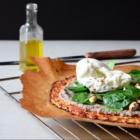 Cauliflower pizza, cream of mushrooms with truffle, creamy Burrata