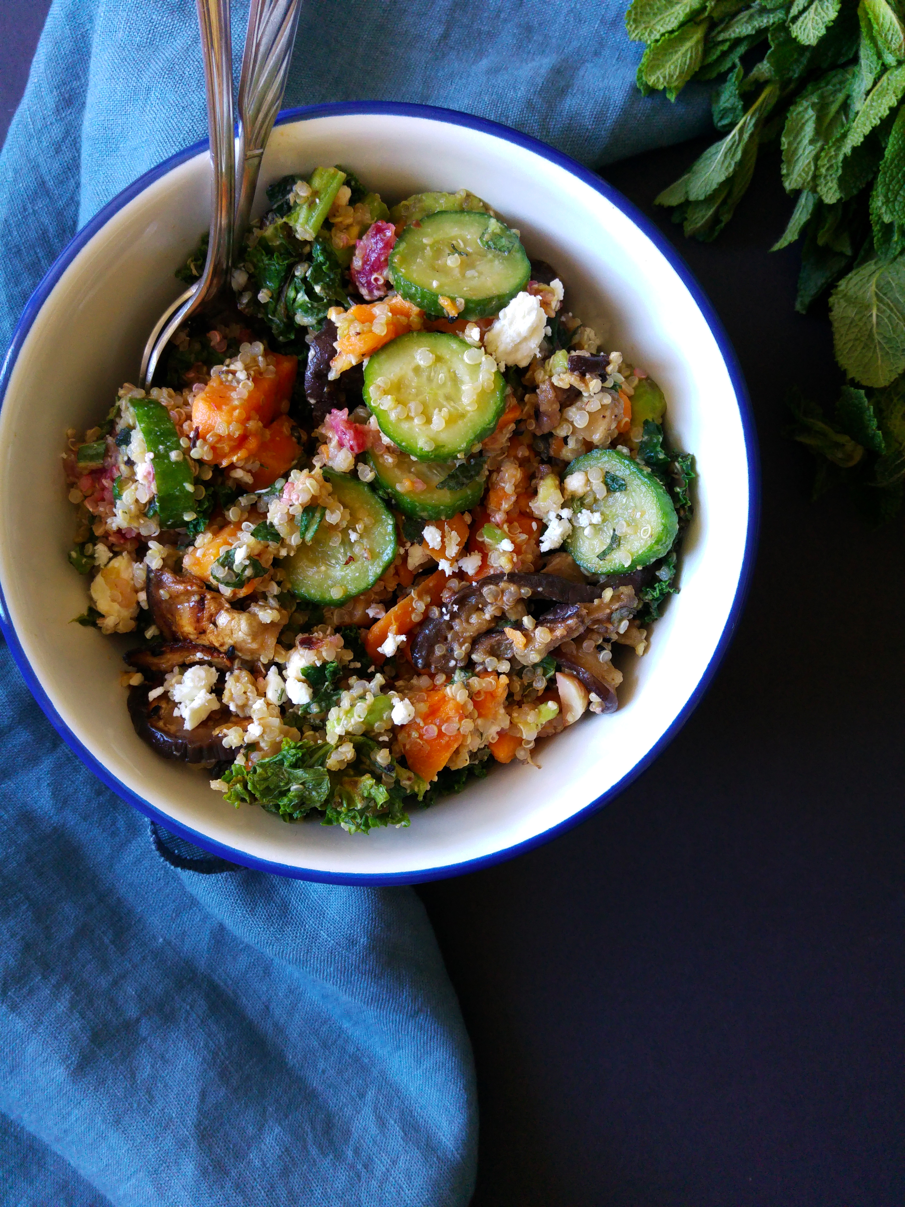 Quinoa greens spring salad