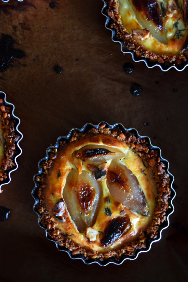 candied shallots soft goat cheese tartlets