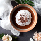 Raw chocolate lavender mousse coconut whipped cream