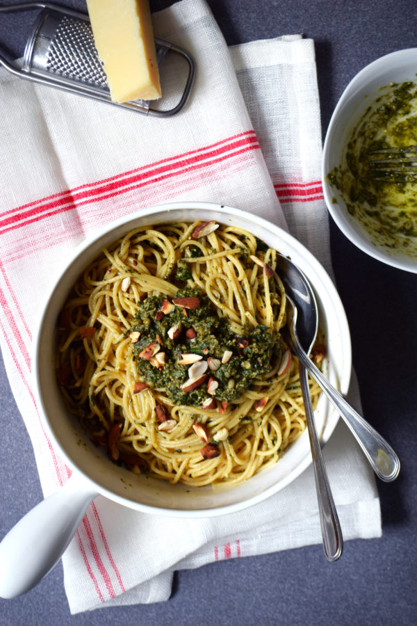 high carb fresh mint pesto spaghetti