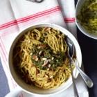 high carb fresh mint pesto spaghetti