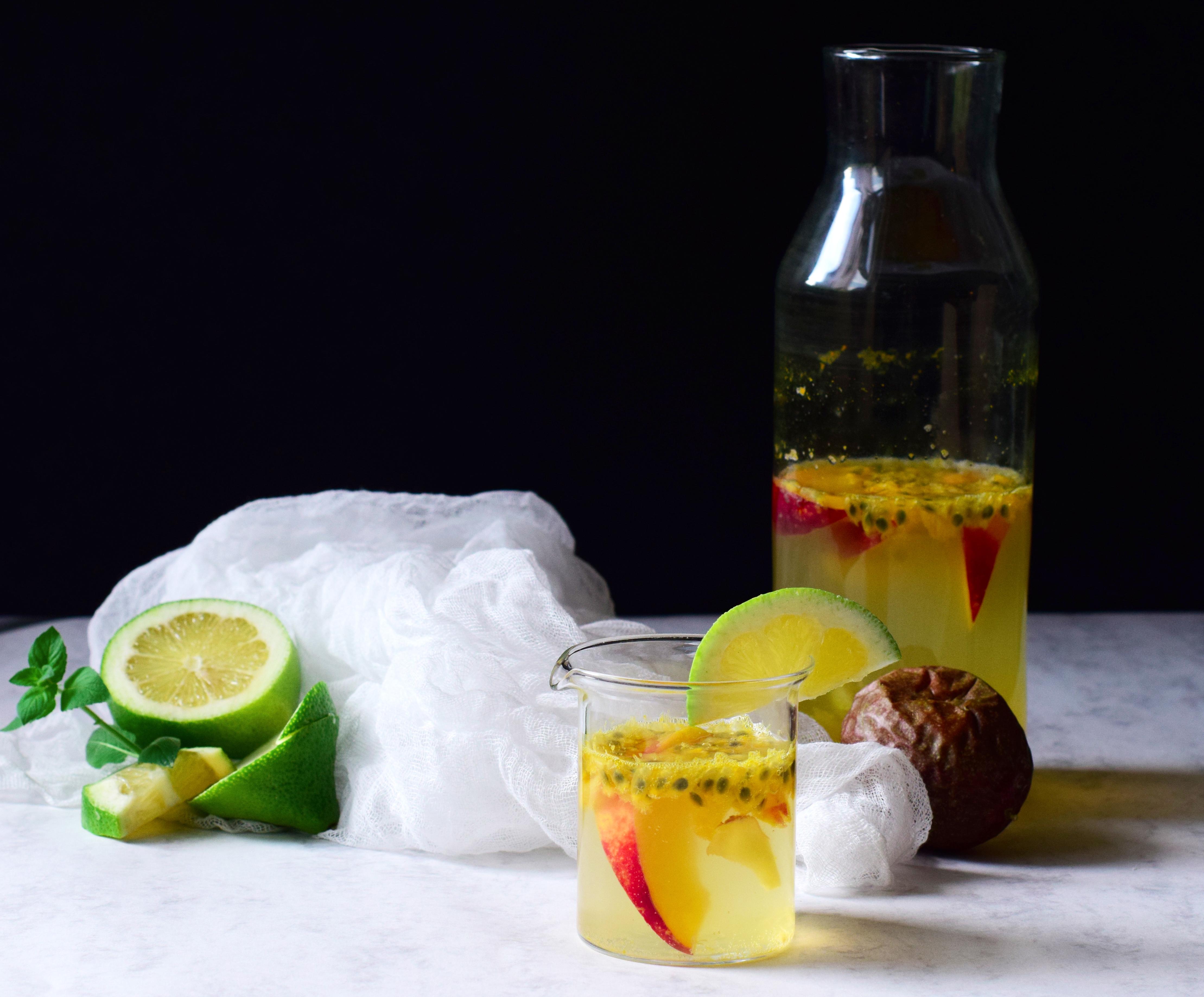 limonade legere fruit passion maracuja nectarine gingembre groseille maquereaux