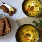 Red lentil soup with mint & sheep yogurt