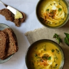 Red lentil soup with mint & sheep yogurt