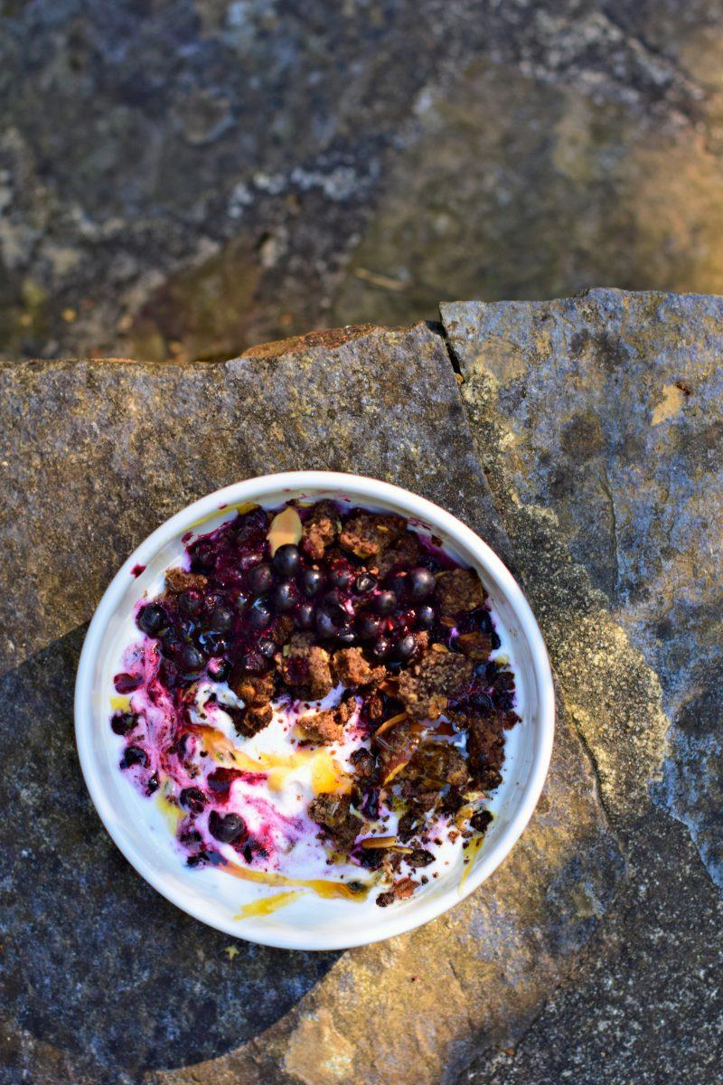 Bol du petit-déjeuner aux myrtilles sauvages, crumble au cacao