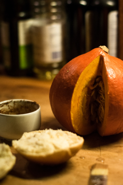 Autumnal burger with pumpkin & Calvados melted onions