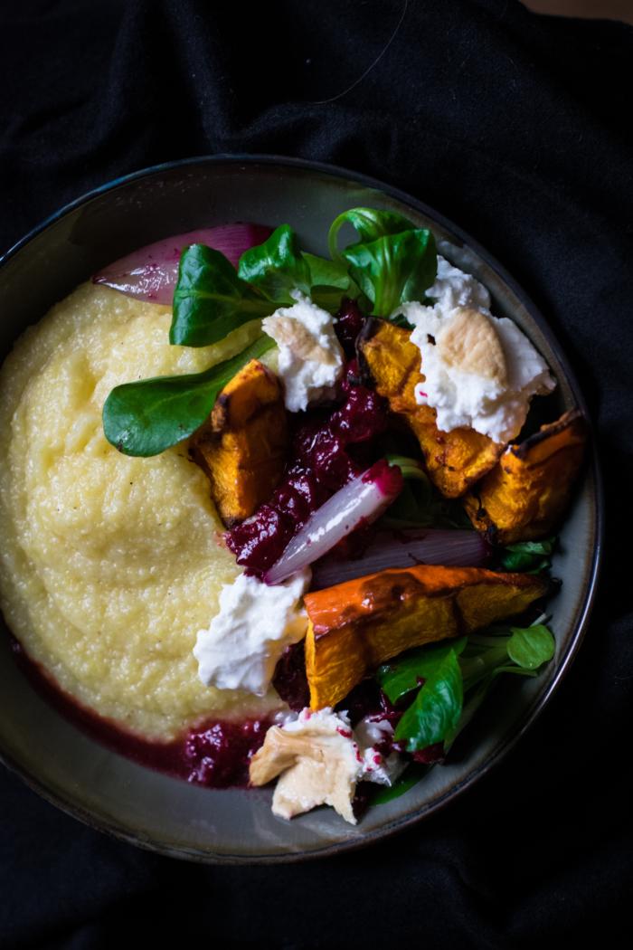 Creamy polenta, smoked Burrata & cranberry-shallot sauce