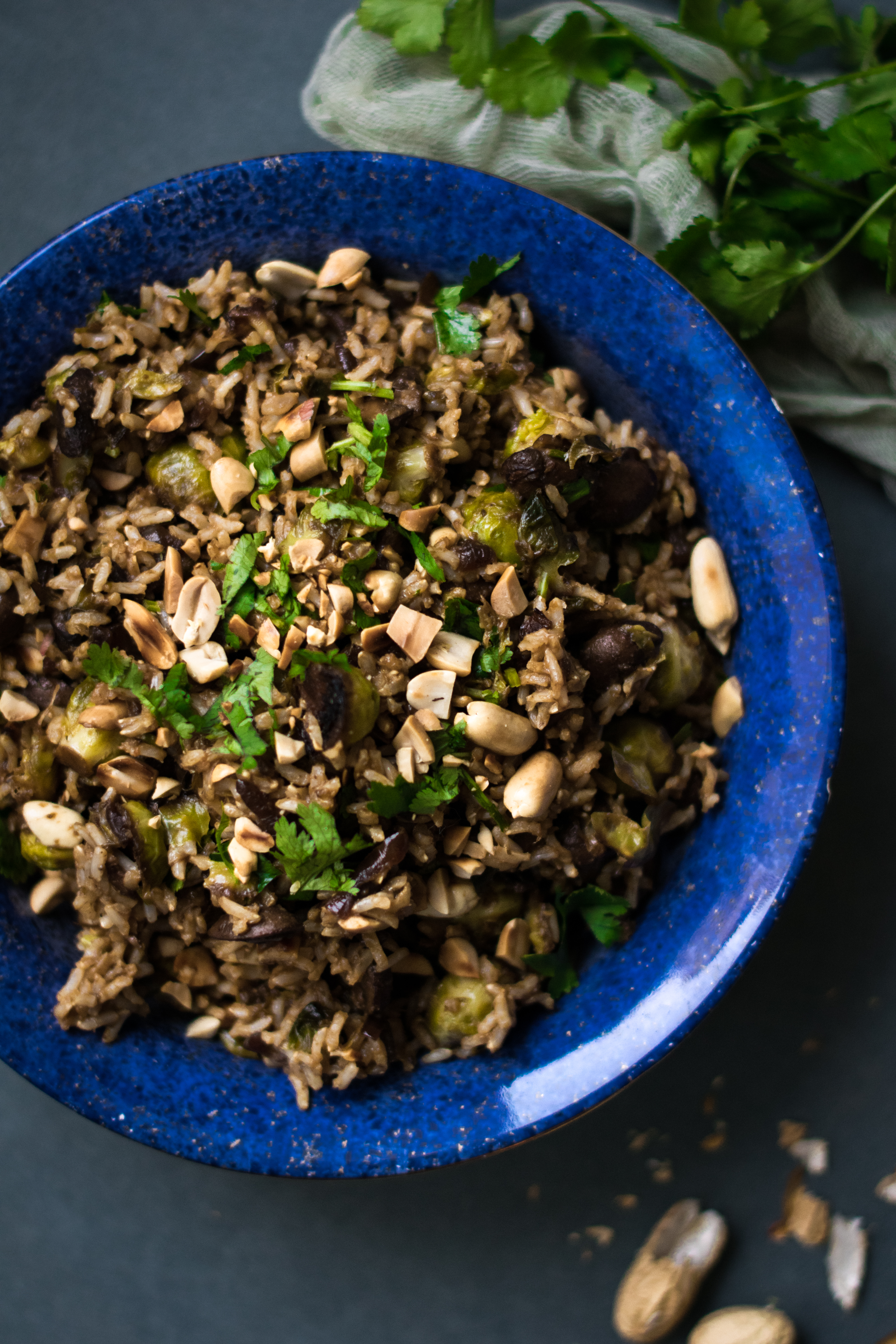 Spicy Brussels Sprout, Mushroom & Peanut Brown Rice Salad
