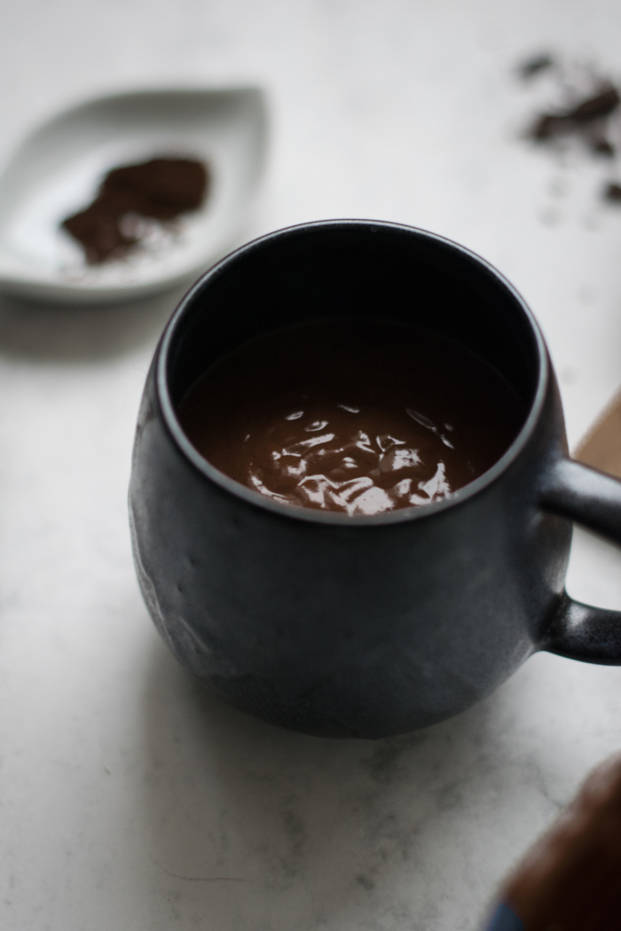 Decadently Creamy Hot Chocolate with Spices & Peanut