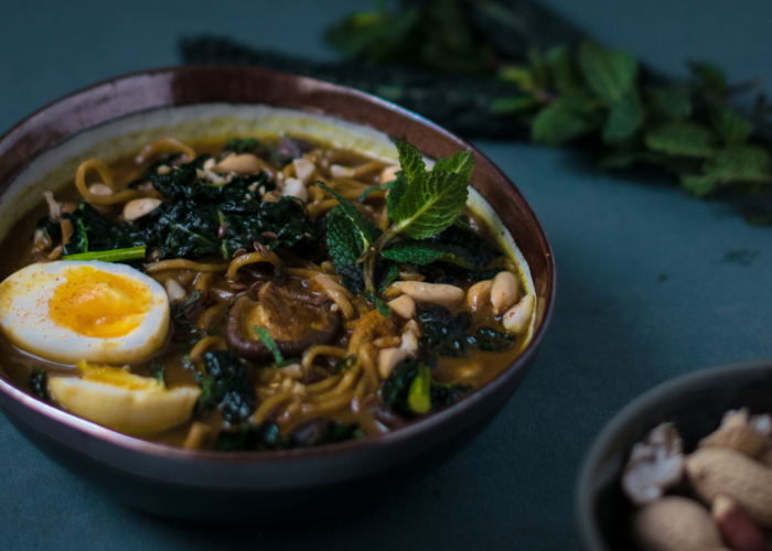 Coconut Curried Noodle Soup with Kale & Peanuts