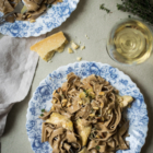 Artichoke Tagliatelle with Creamy Garlic White Wine Sauce