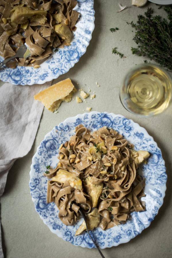 Artichoke Tagliatelle with Creamy Garlic White Wine Sauce