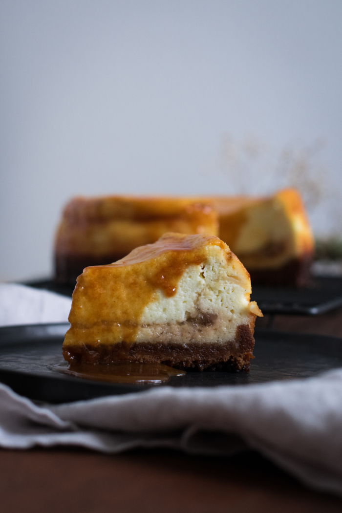Apple, Caramel & Goat Cheese Cheesecake   In the mood for food