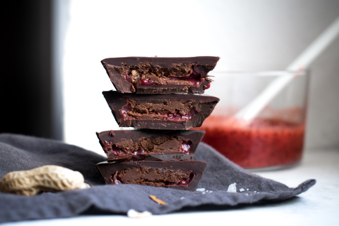 Strawberry Sauce & Peanut Butter Chocolate Cups