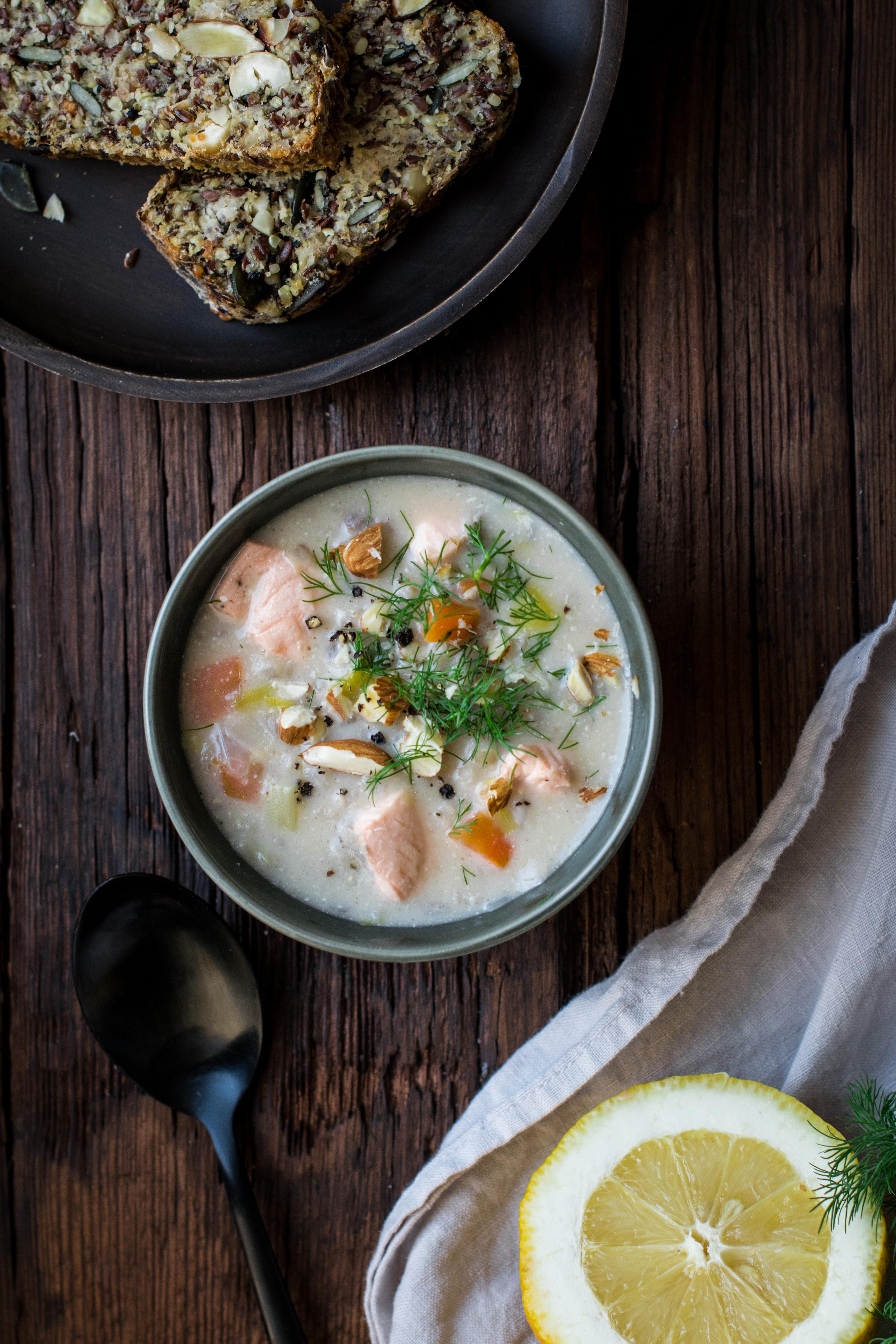 Soupe Finlandaise Saumon, Orge & Amande