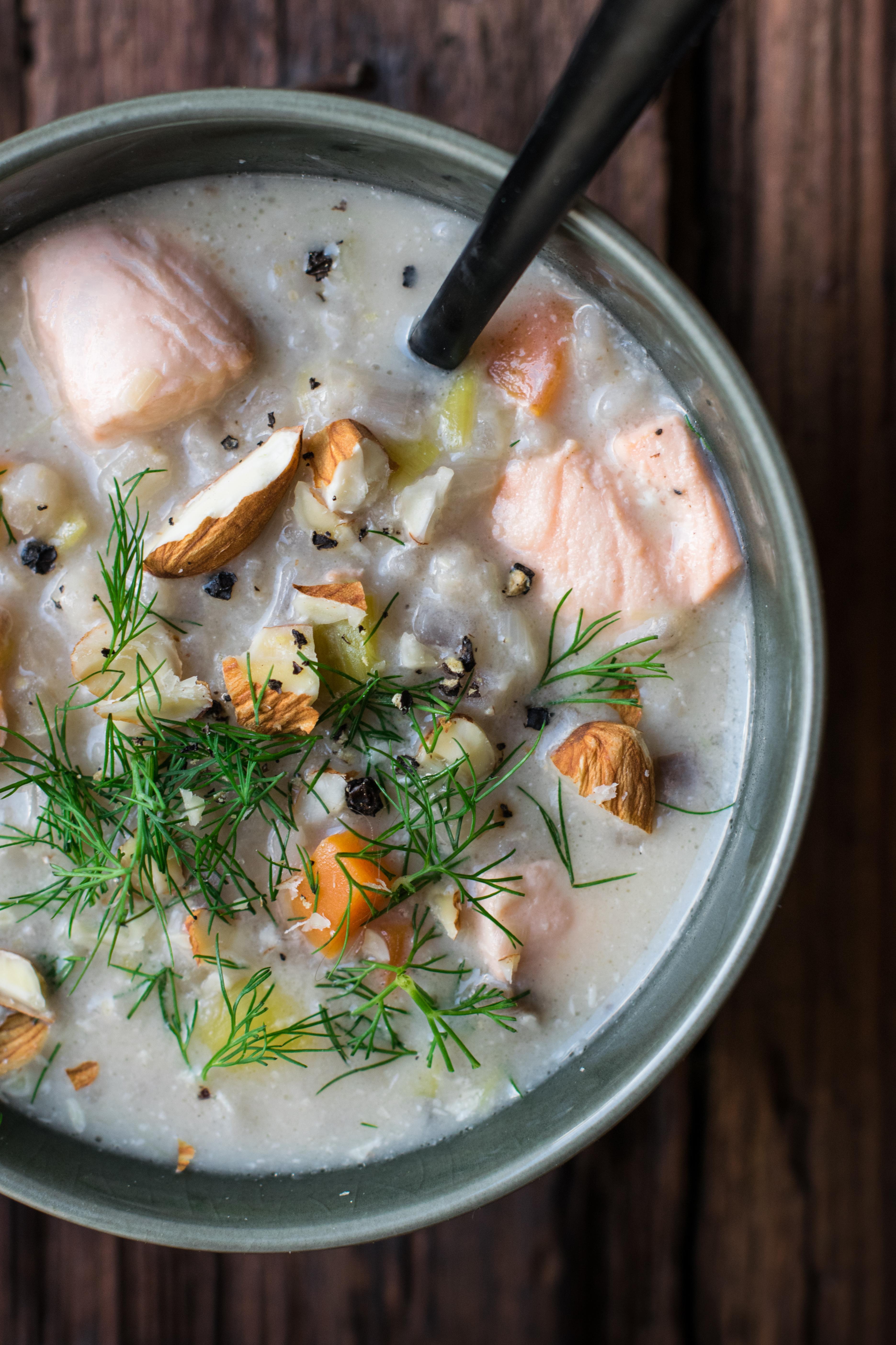 Barley, Almond & Salmon Finnish Style Soup