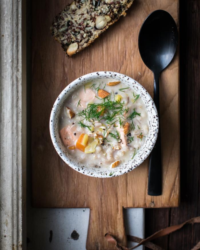 Soupe Finlandaise Saumon, Orge et Amande