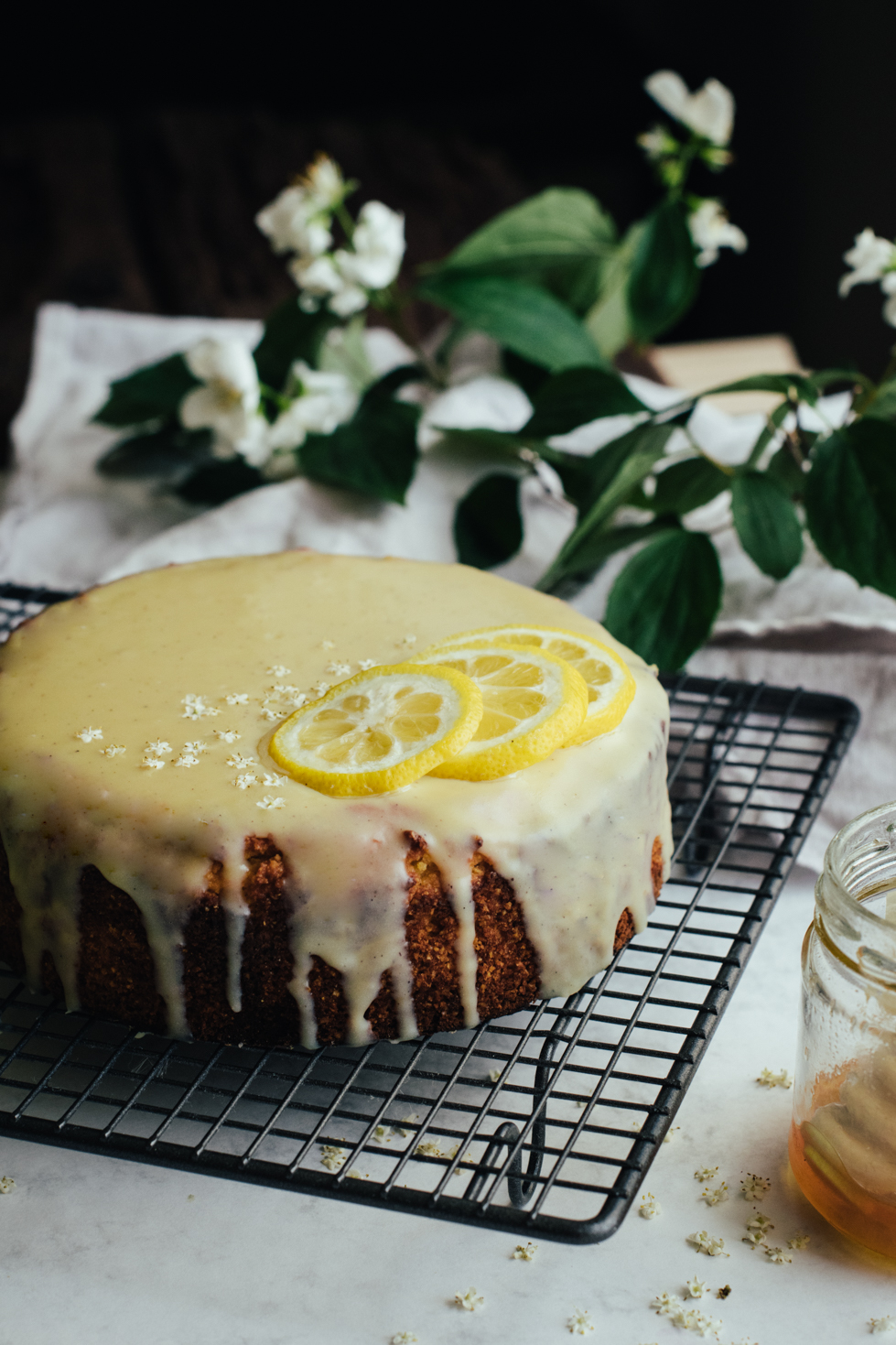 Lemon Polenta Cake & Elderflower White Chocolate Ganache
