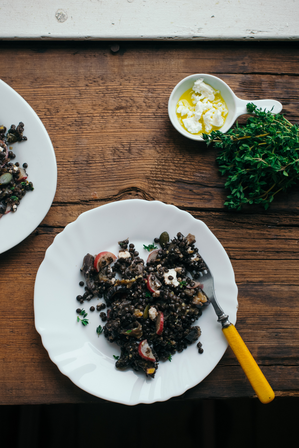 Salade de Lentilles Beluga, Aubergine & Citron Confit