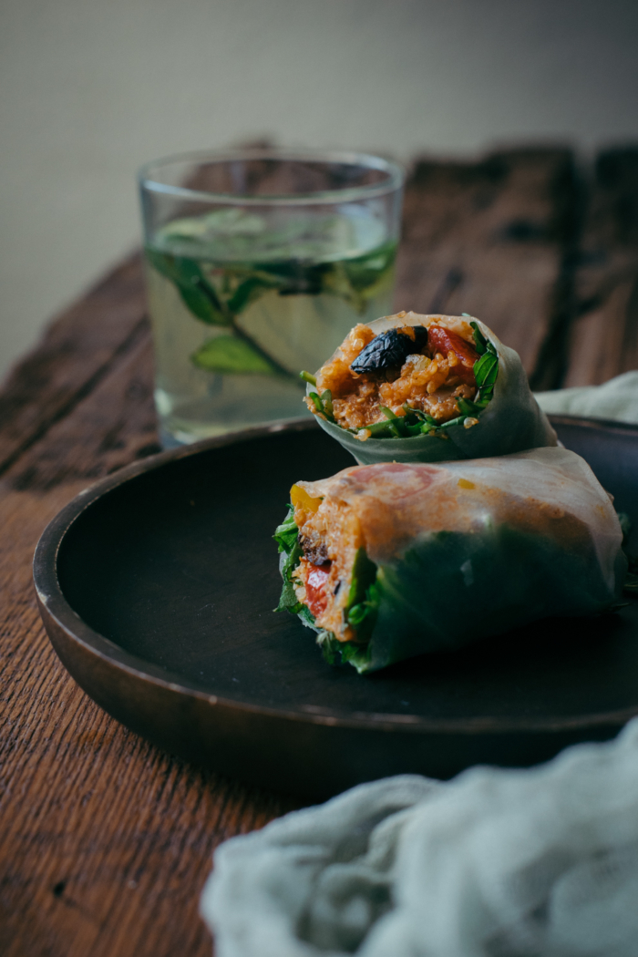 Mediterranean Style Quinoa Spring Rolls