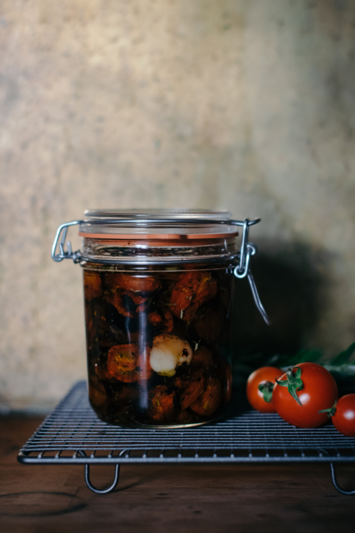 Slow Roasted Cherry Tomatoes with Olive Oil & Herbs