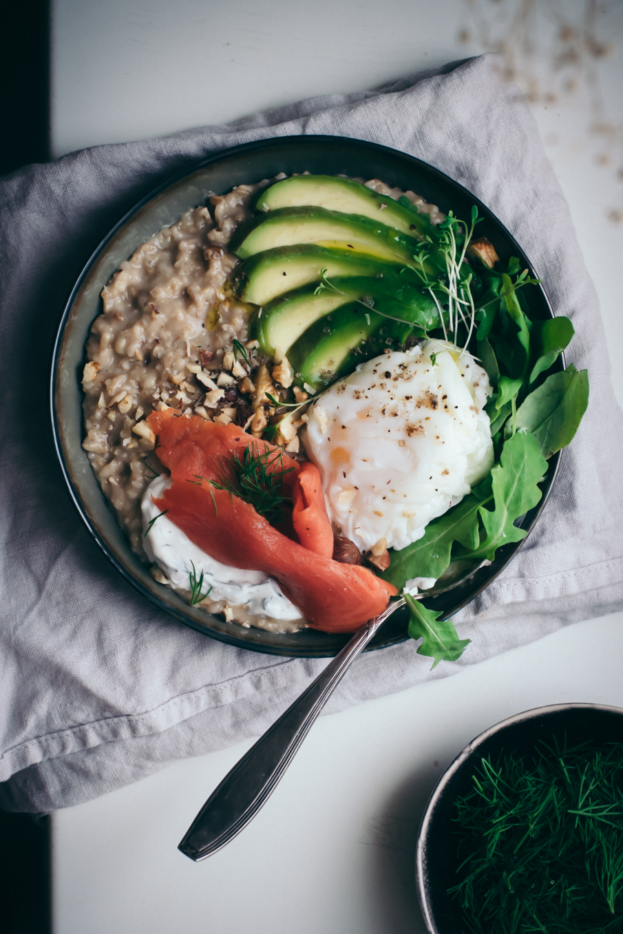 Savory Porridge with Miso, Salmon & Avocado