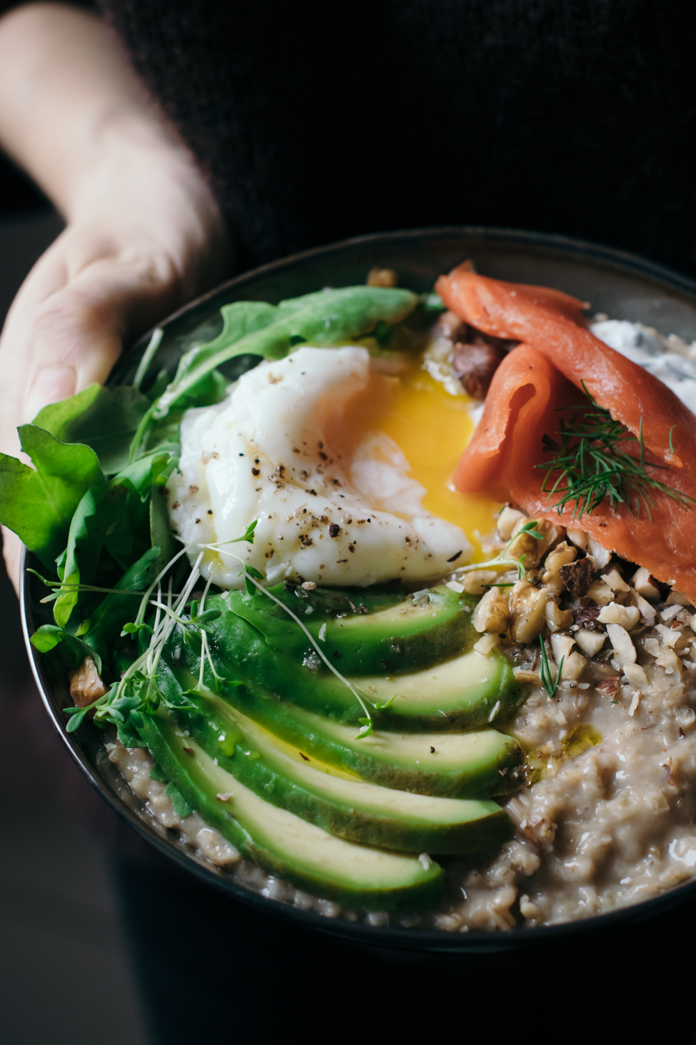 Savory Porridge with Miso, Salmon & Avocado