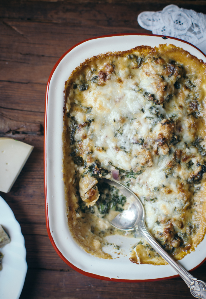Spinach, Goat Cheese & Buckwheat Gnocchi Gratin