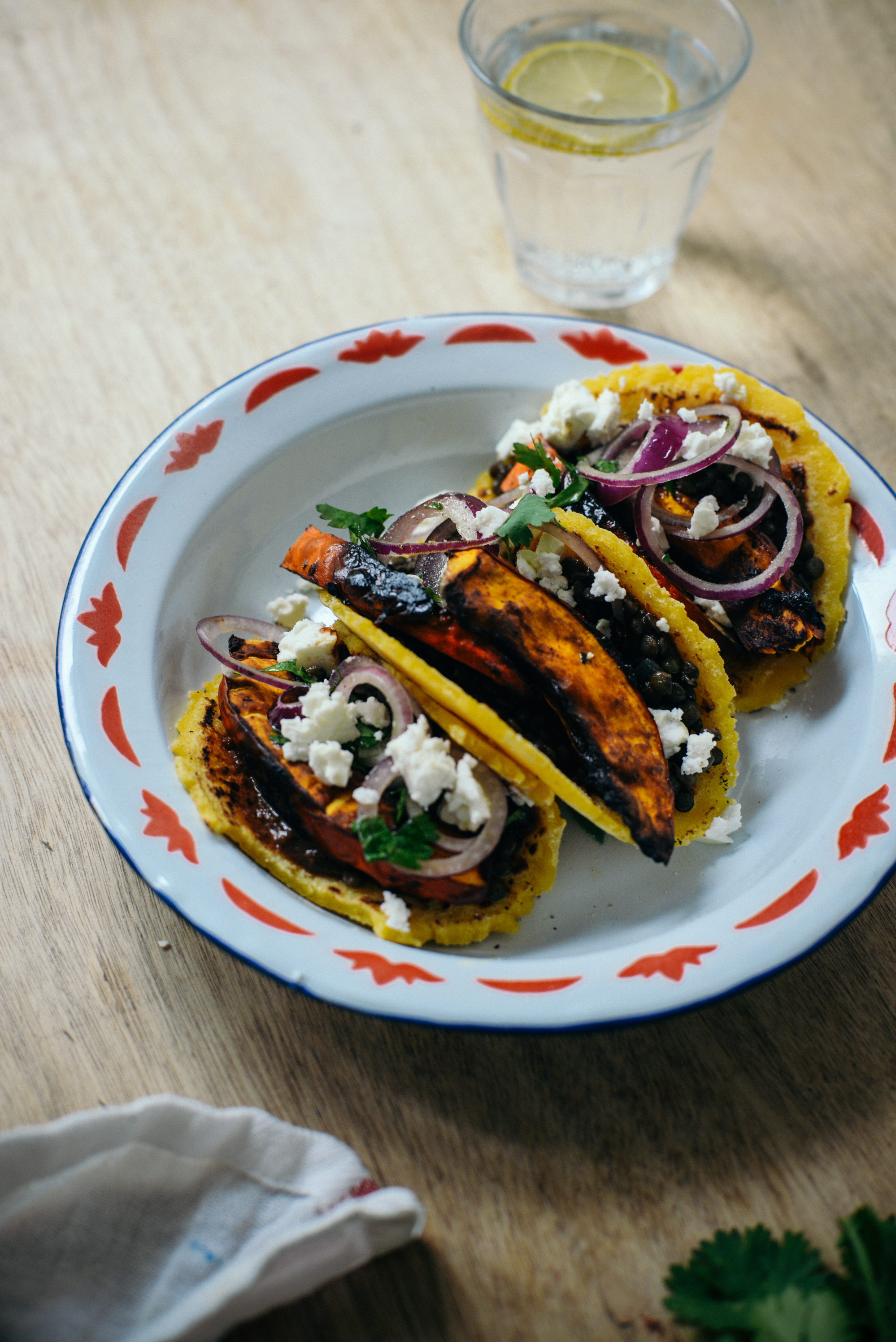 Roasted Squash Lentil Tortillas with Chocolate Sauce