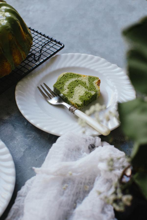Vanilla Matcha Marble Cake