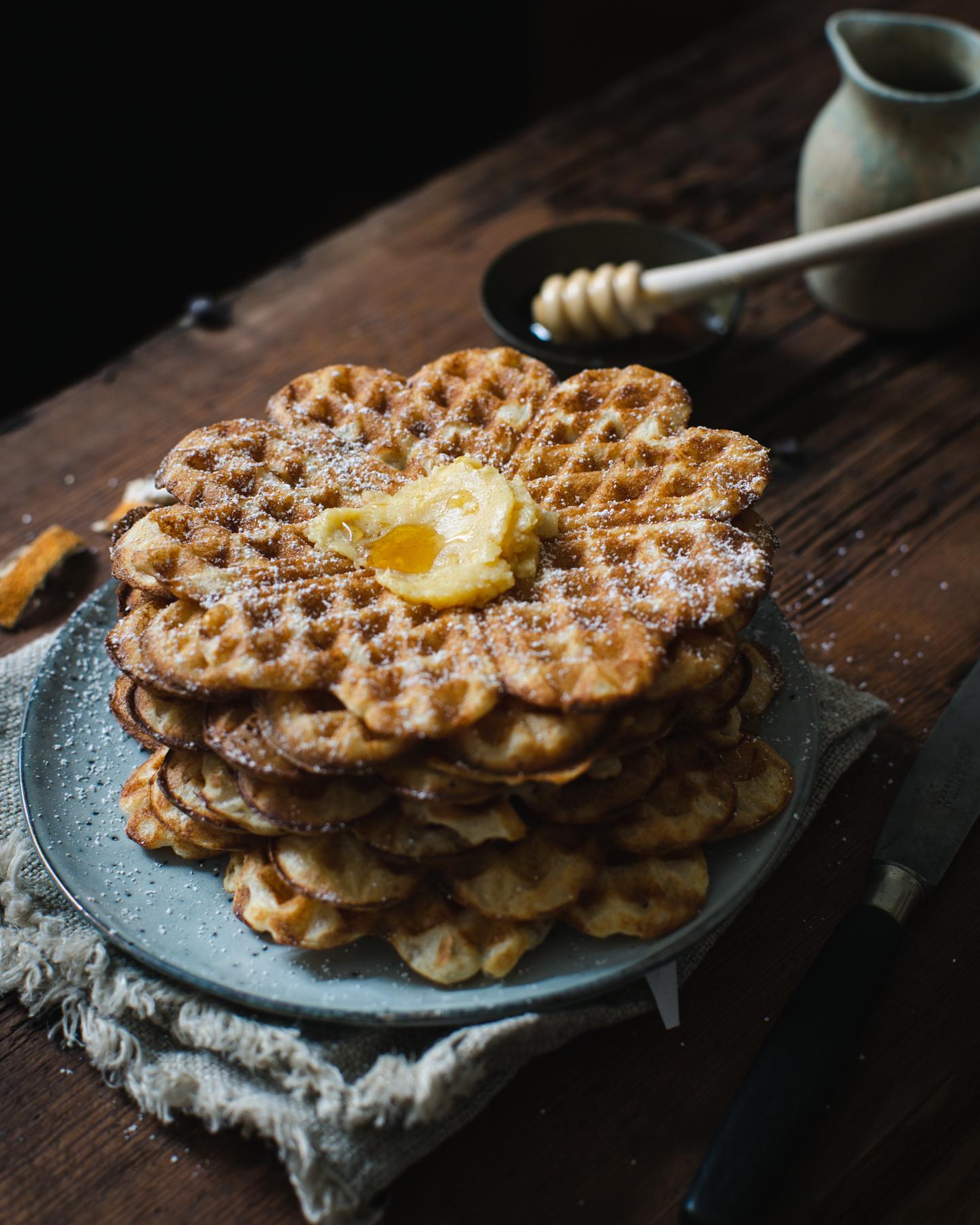 Orange Blossom Sourdough Waffles